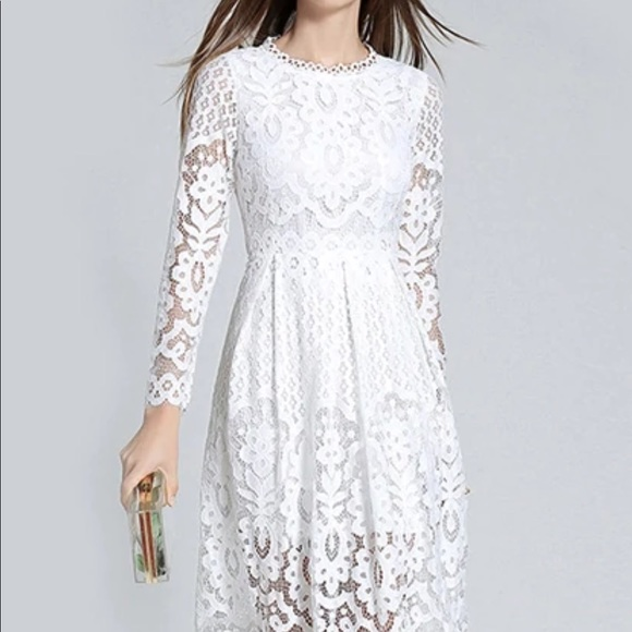 49cbb3a4a5b2 White lace Midi dress with long sleeves NWOT